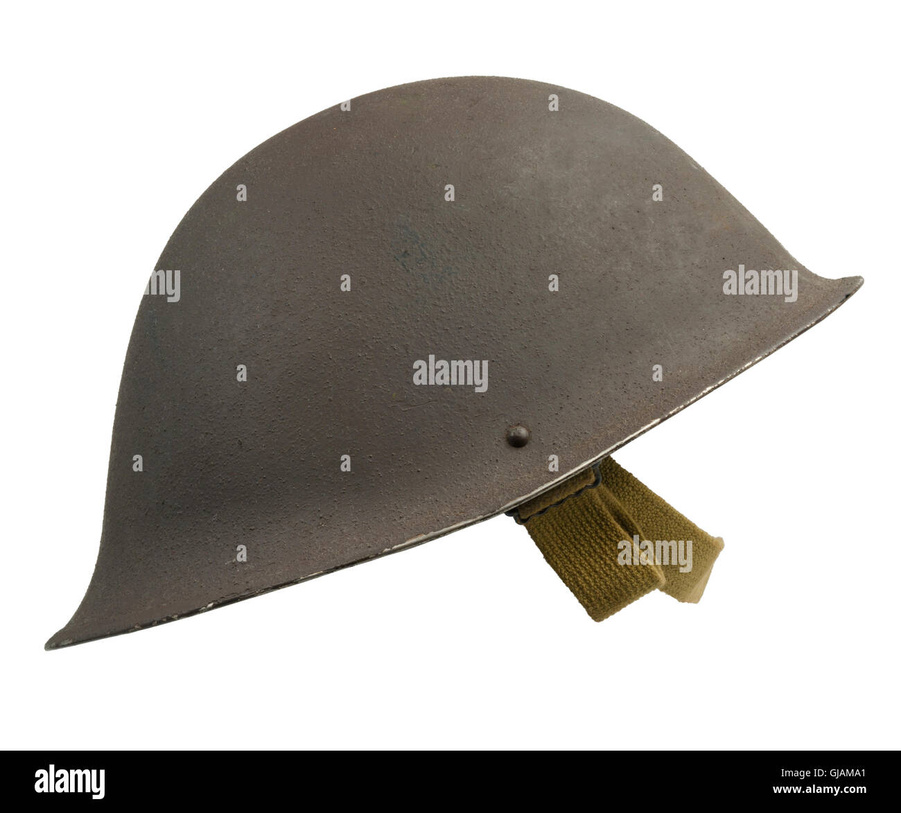 A British military Mk IV helmet, first introduced in 1945. - Stock Image