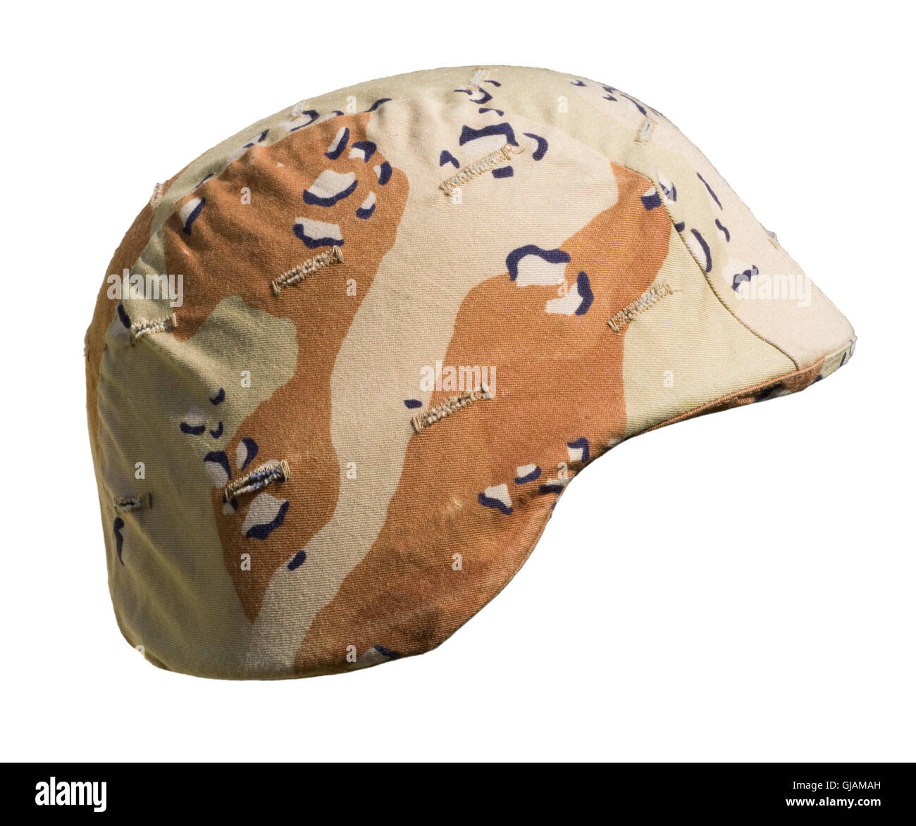 A US PASGT Kevlar helmet with a Desert Battle Dress Uniform (chocolate-chip) camouflage cover from Operation Desert - Stock Image