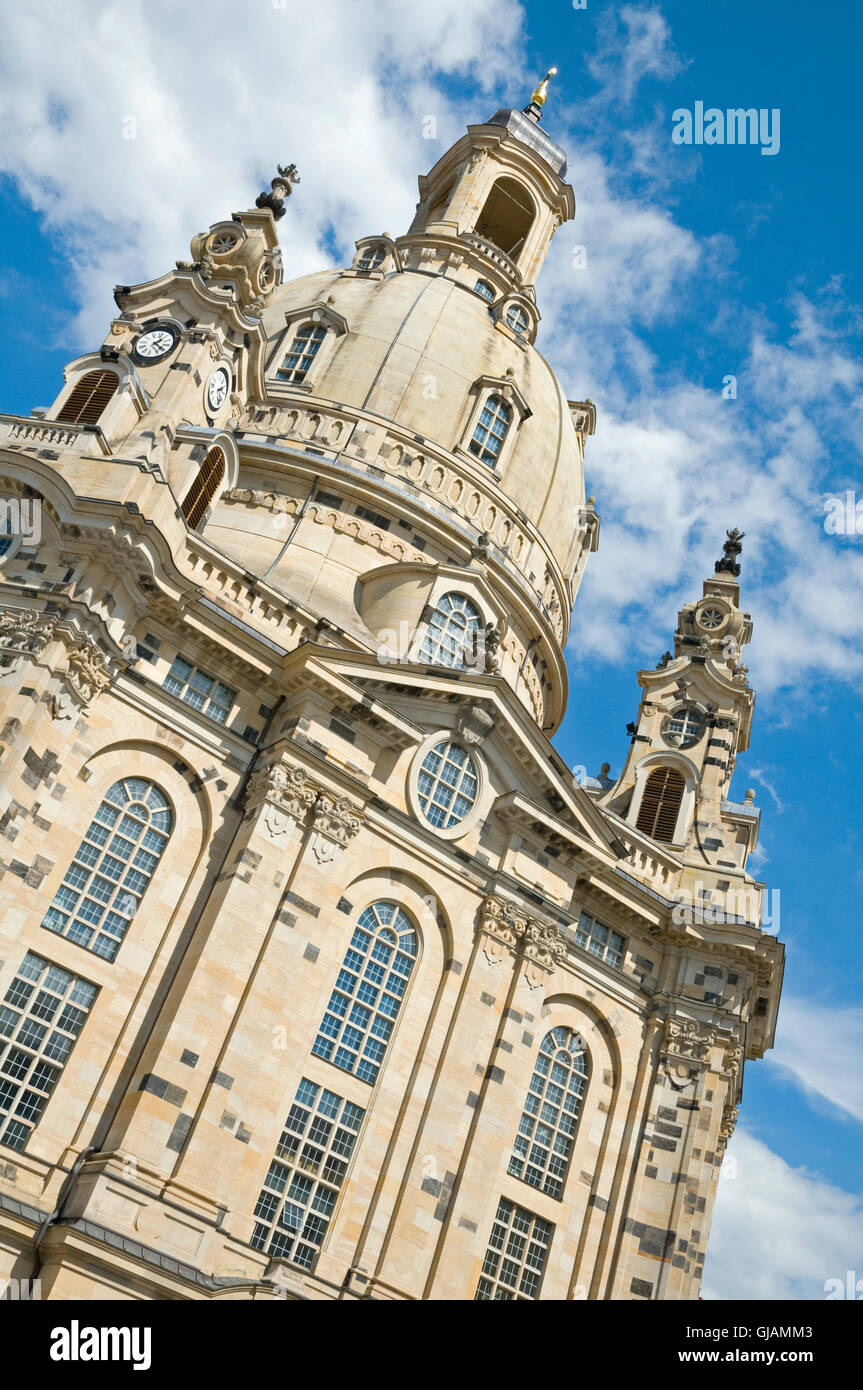 The Frauenkirche in Dresden, Germany. The church was destroyed during the aerial bombing of the city on February - Stock Image