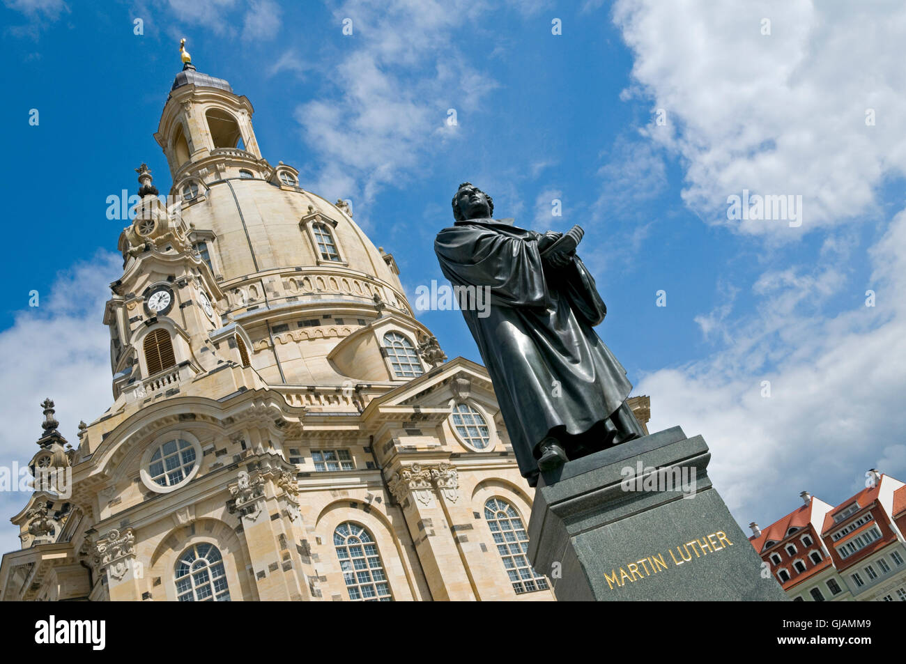 The statue of Martin Luther in front of the Frauenkirche in Dresden, Germany. The church was destroyed during the - Stock Image