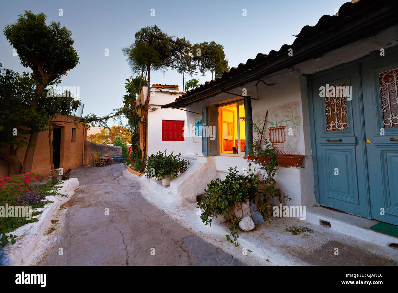 Street of Anafiotika in the old town of Athens. Stock Photo