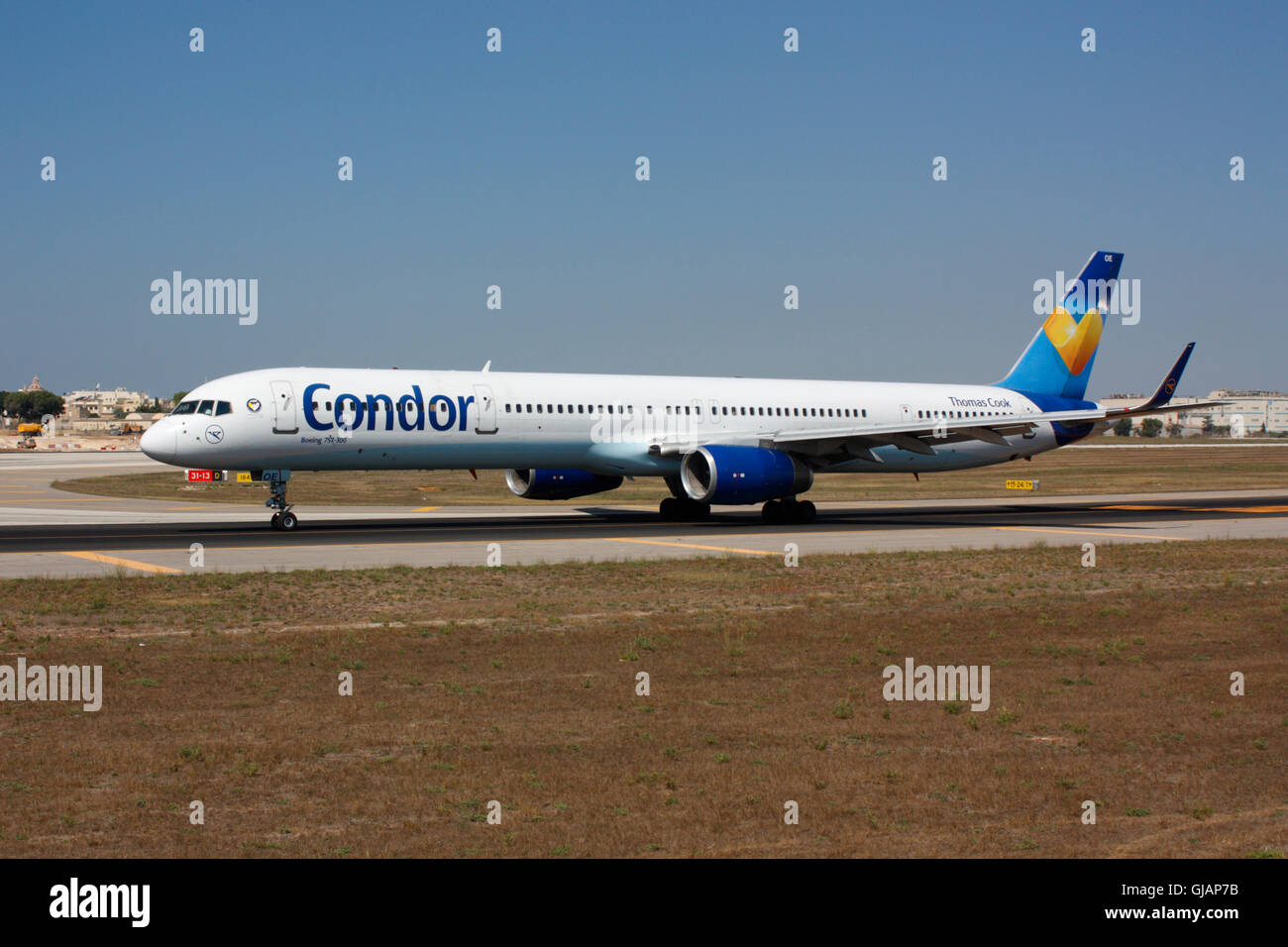 Commercial aviation. Condor Flugdienst Boeing 757-300 airliner taxiing for departure from Malta - Stock Image