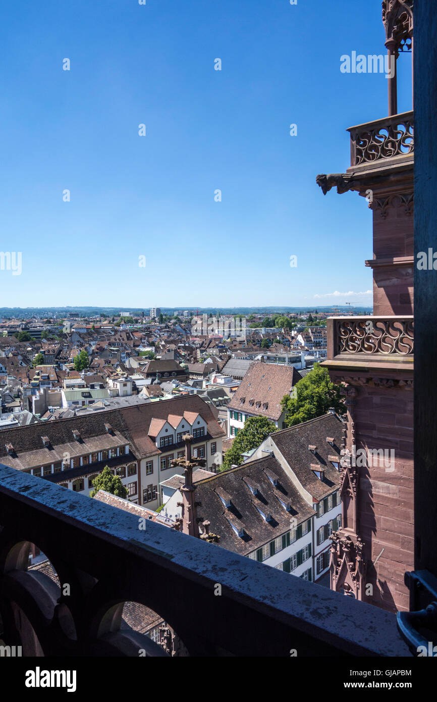 Basel cityscape (view from Muenster) - Stock Image
