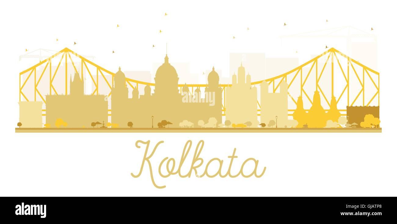 Kolkata City skyline golden silhouette. Vector illustration. Simple flat concept for tourism presentation, banner, - Stock Vector