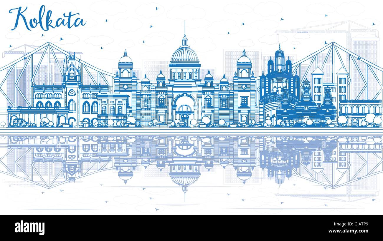 Outline Kolkata Skyline with Blue Landmarks and Reflections. Vector Illustration. Business Travel and Tourism Concept - Stock Vector