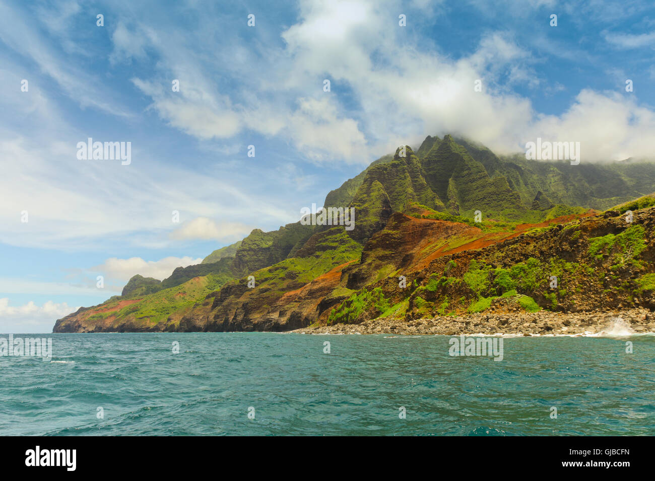 The rugged NaPali Coastline of Kauai, Hawaii. - Stock Image
