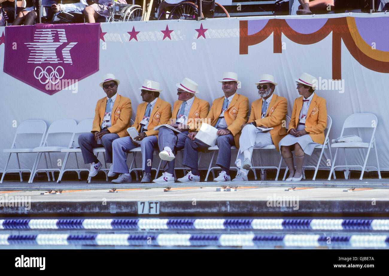 California - Los Angeles - 1984 Summer Olympic Games. USA men's swimming. Judges at pool. - Stock Image