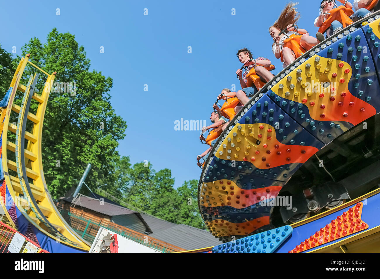 A trip to the amusement park, Moscow, Russia - Stock Image