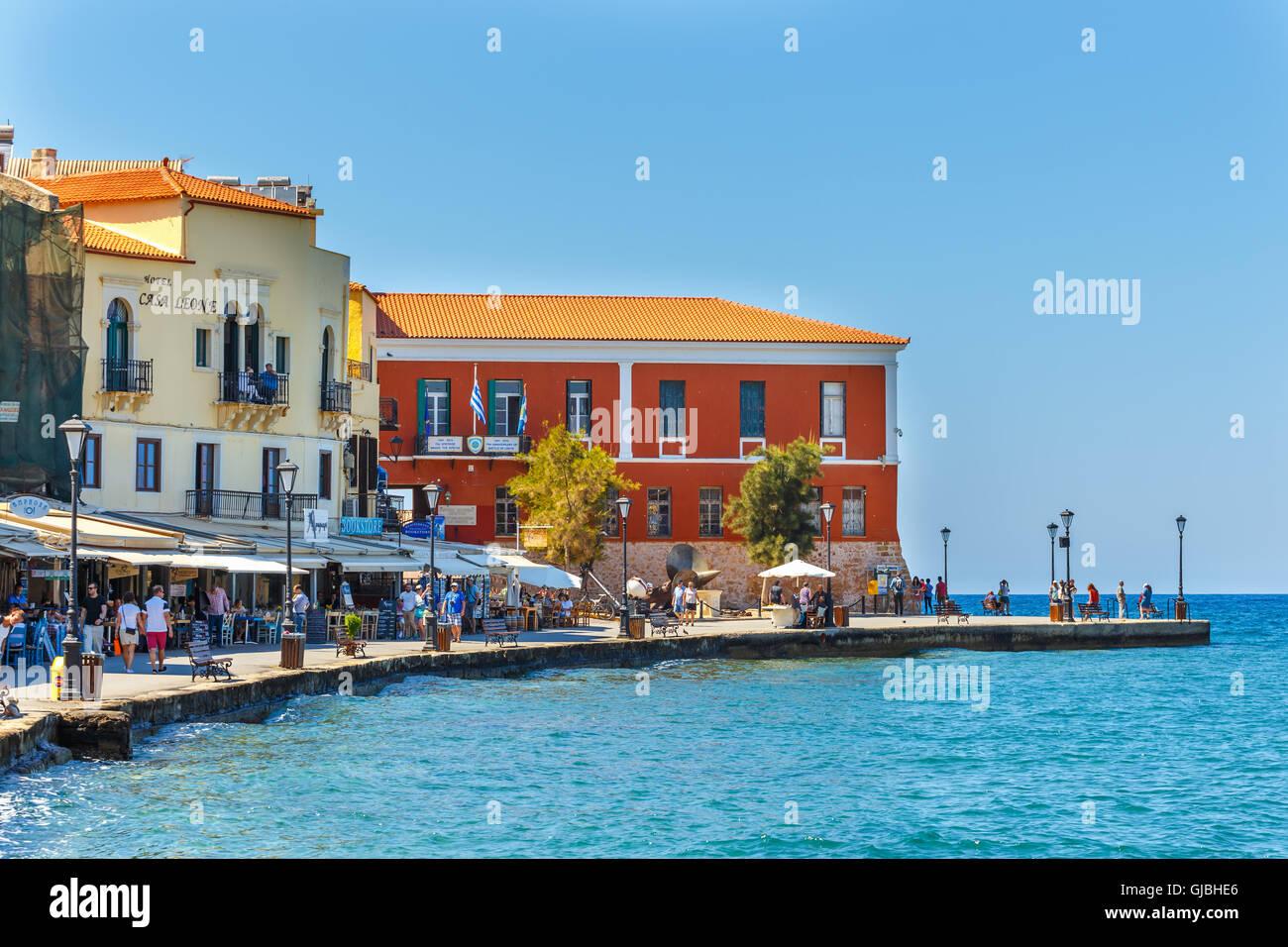 Chania Crete 25 Maj 2016 Old Harbor In Chania Greece Chania