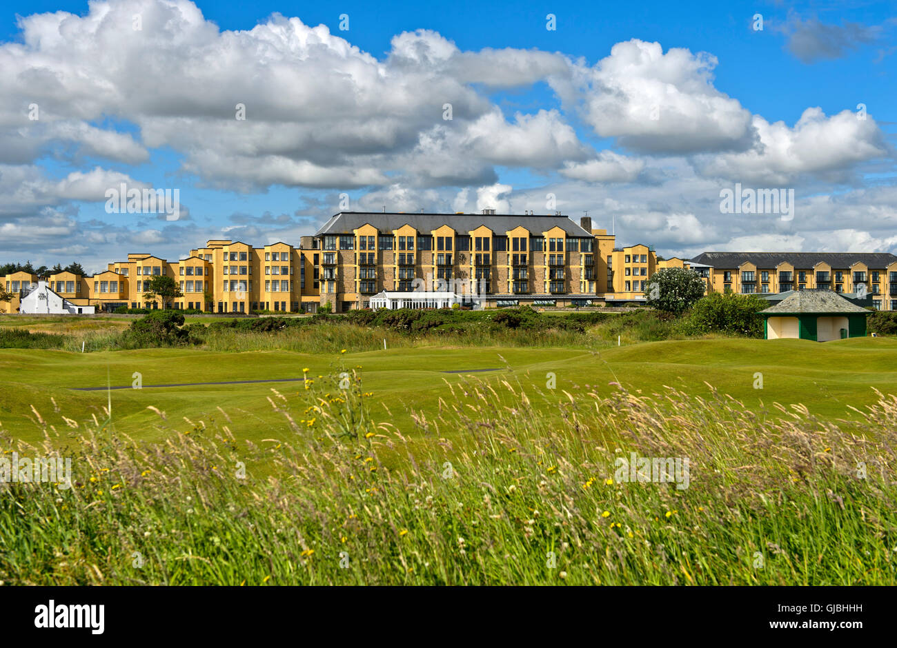 Old Course Hotel at the Old Course, Golf course St Andrews Links, St Andrews, Fife, Scotland, Great Britain - Stock Image