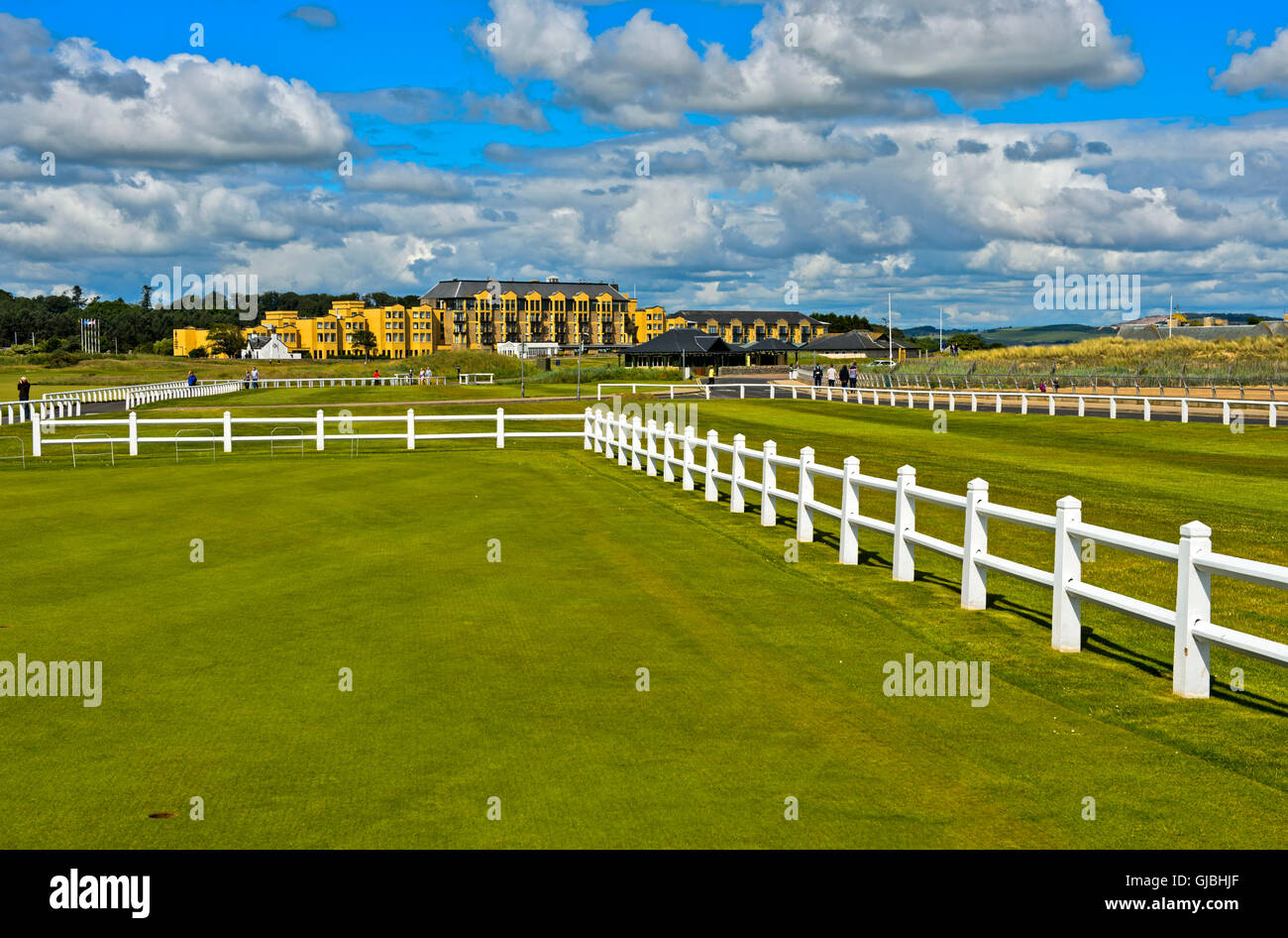 Old Course, Old Course Hotel behind, golf course St Andrews Links, St Andrews, Fife, Scotland, Great Britain - Stock Image