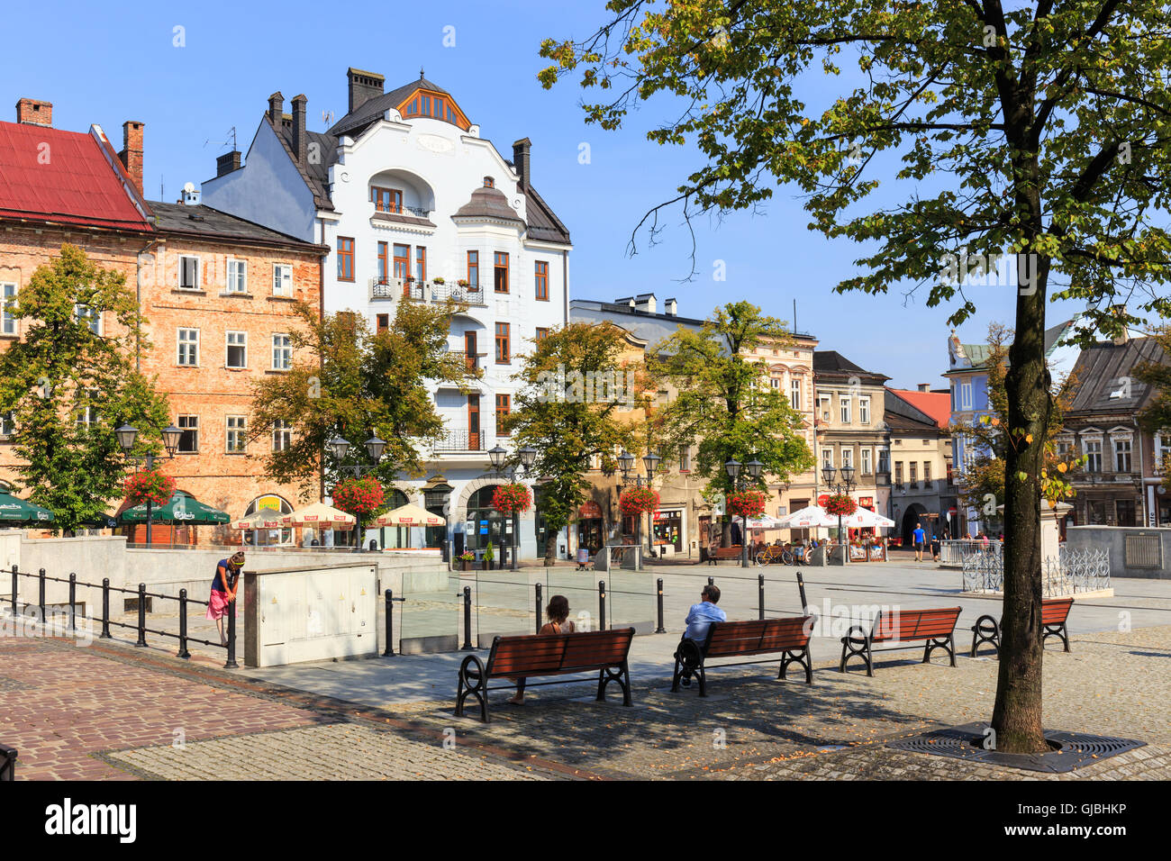 Bielsko Biala, Poland - September 07, 2014: View of the historical part of Bielsko Biala in the summer, sunny day - Stock Image