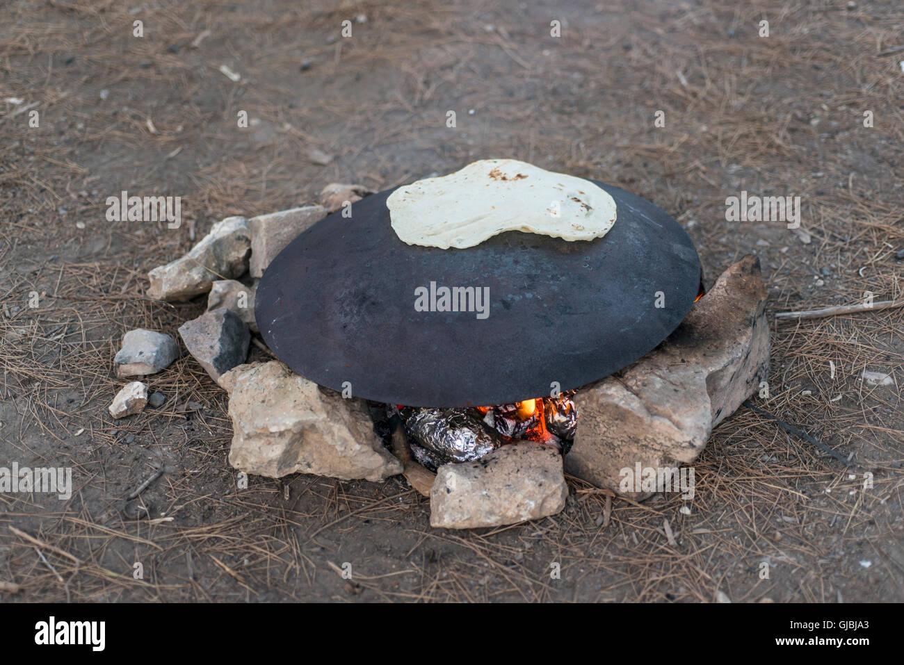 Druze pita bread on a tabun Stock Photo