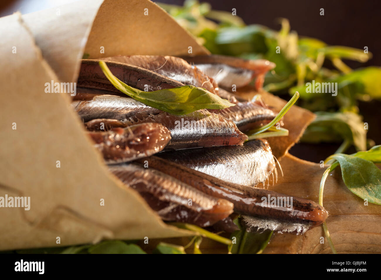 Fresh anchovies - Stock Image