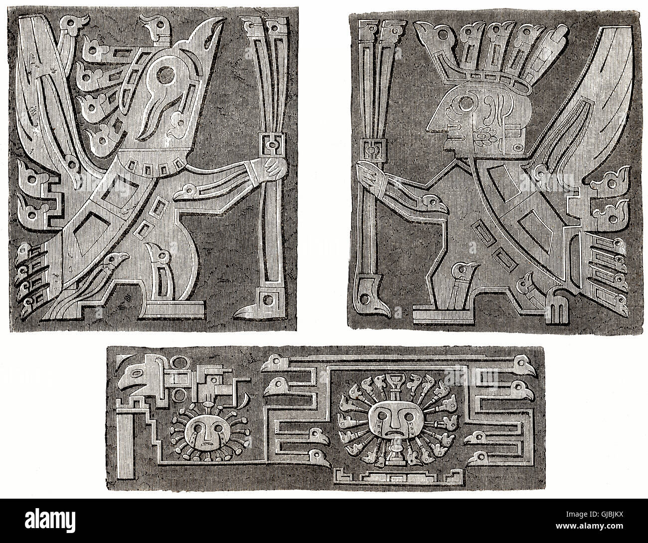 Figures in Tiwanaku, a Pre-Columbian archaeological site in western Bolivia - Stock Image