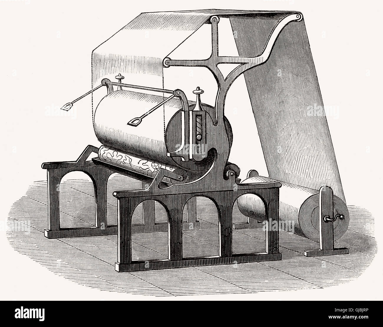 Roller printing machine, textile printing, 19th century - Stock Image