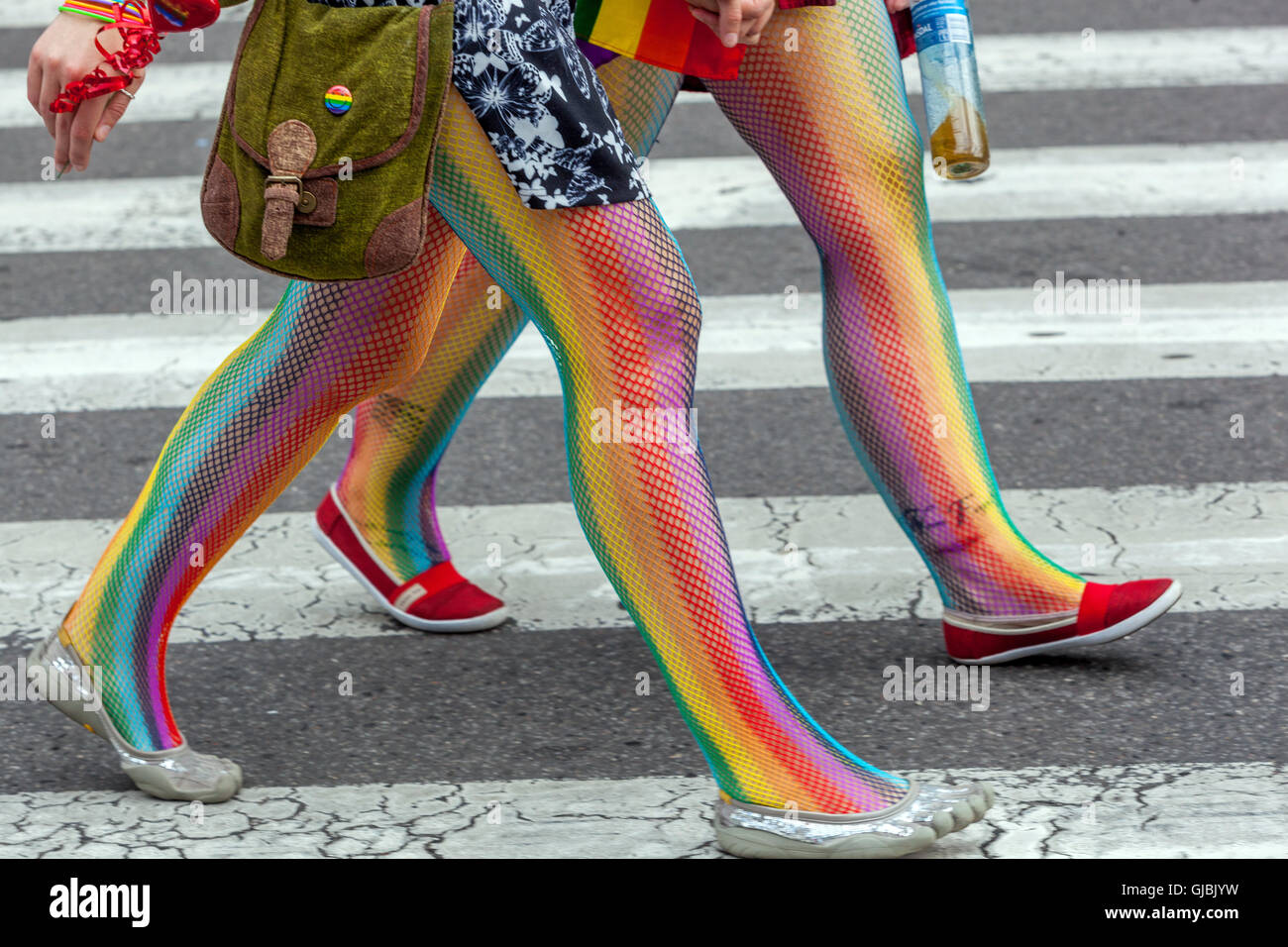 Couple on crosswalk, Prague Pride, Czech Republic - Stock Image