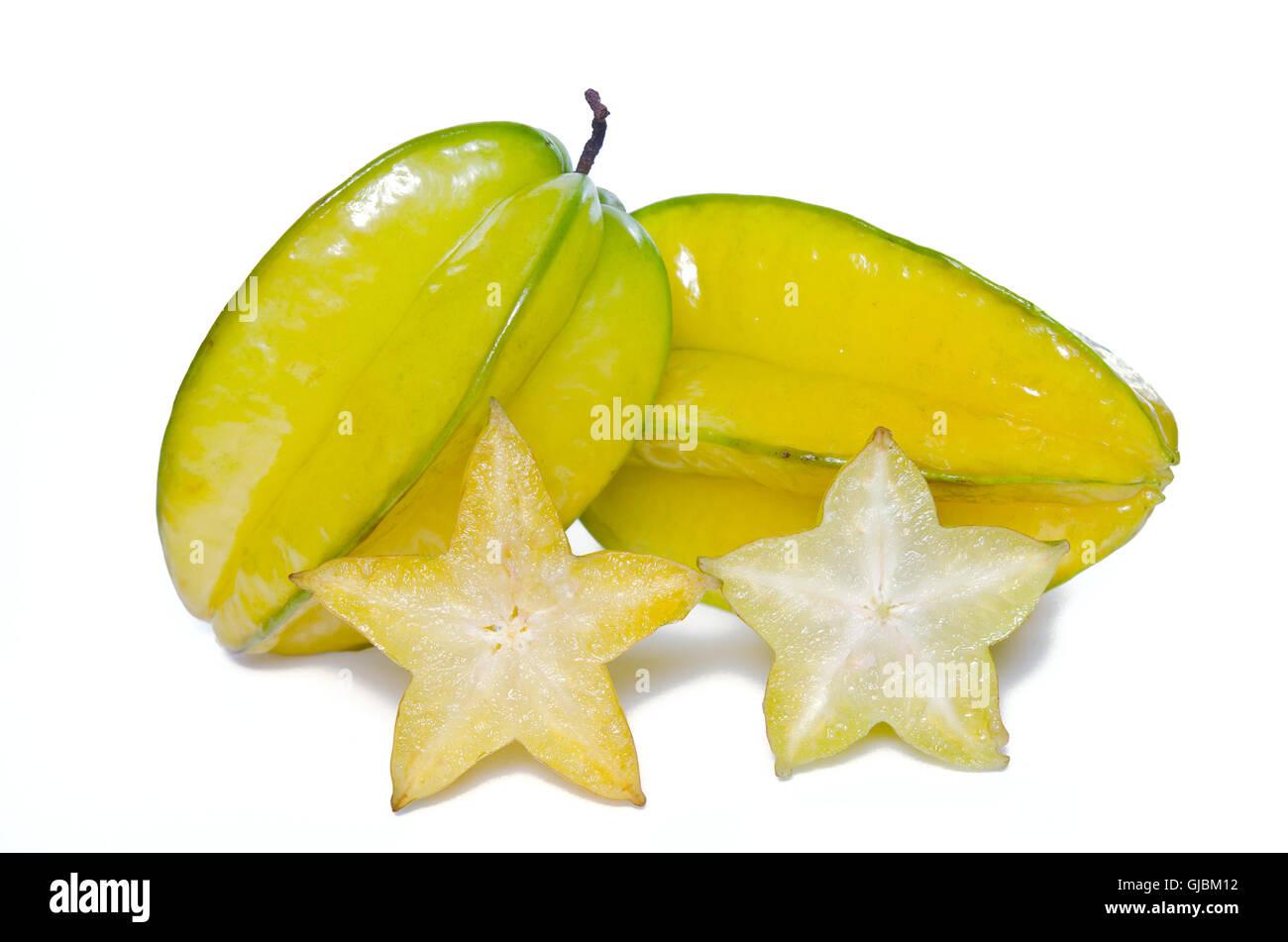 Star apple fruit (Also called as Carambola, starfruit, Averrhoa apple carambola, Bilimbi, Arkin in Florida, Dah - Stock Image