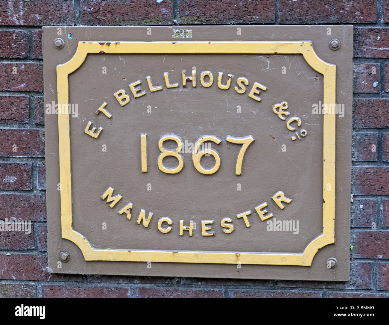 ET Bellhouse & Co 1867 Manchester plate on a bridge, Princess St, UK - Stock Image