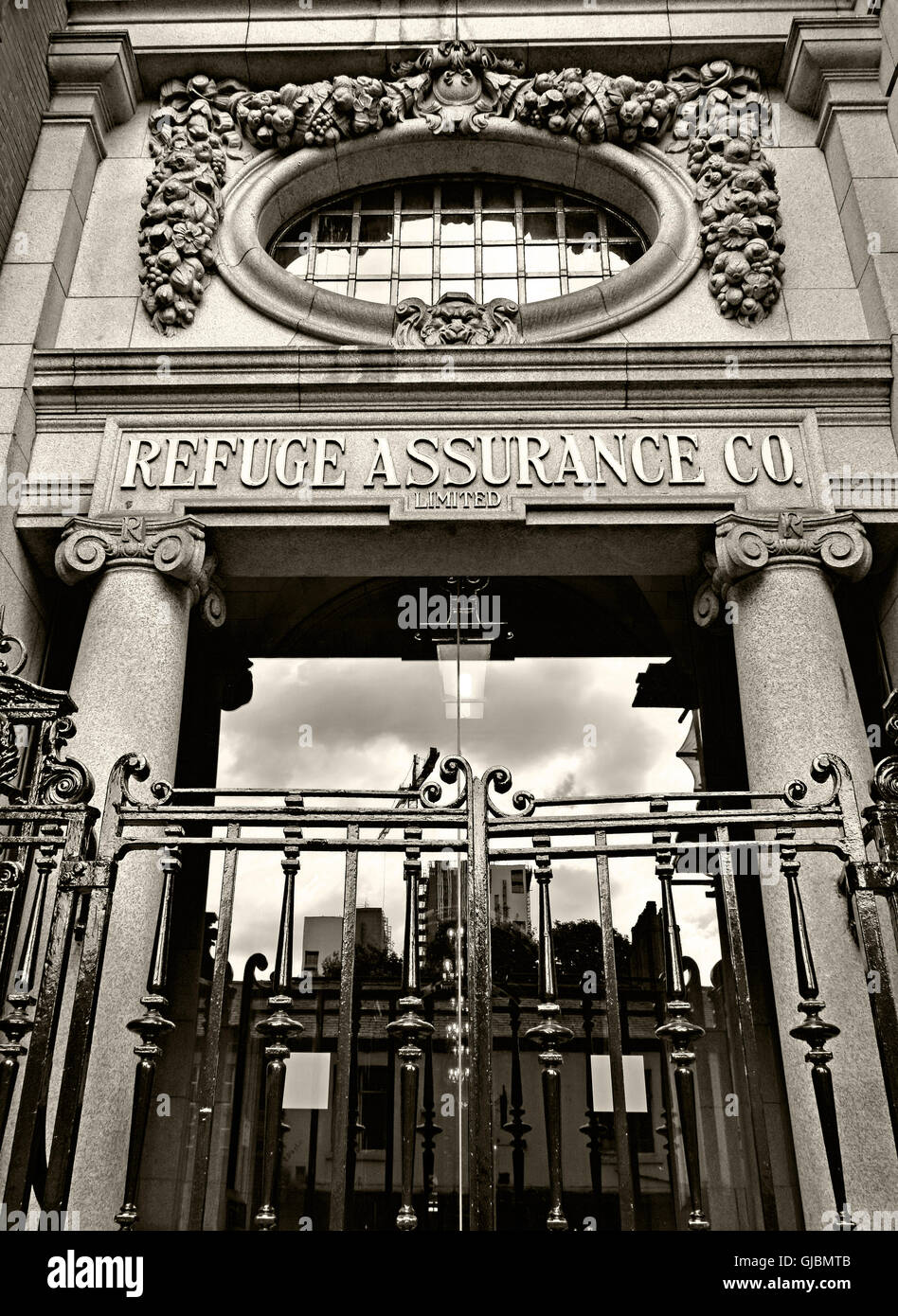 Sepia Refuge Assurance office building, Oxford Road Manchester, - Stock Image
