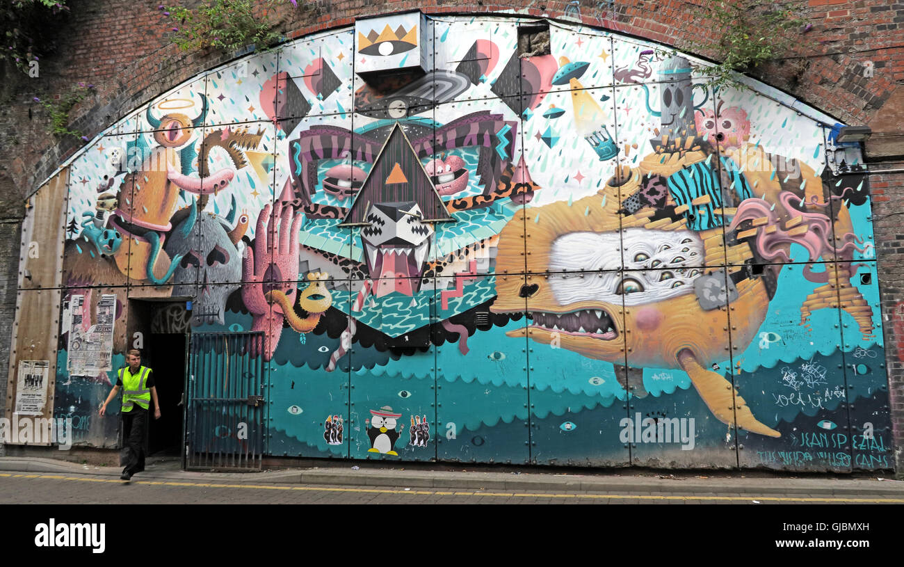 Railway arches art, New Wakefield St, under Oxford Road railway station, Manchester, North West England, UK - Stock Image
