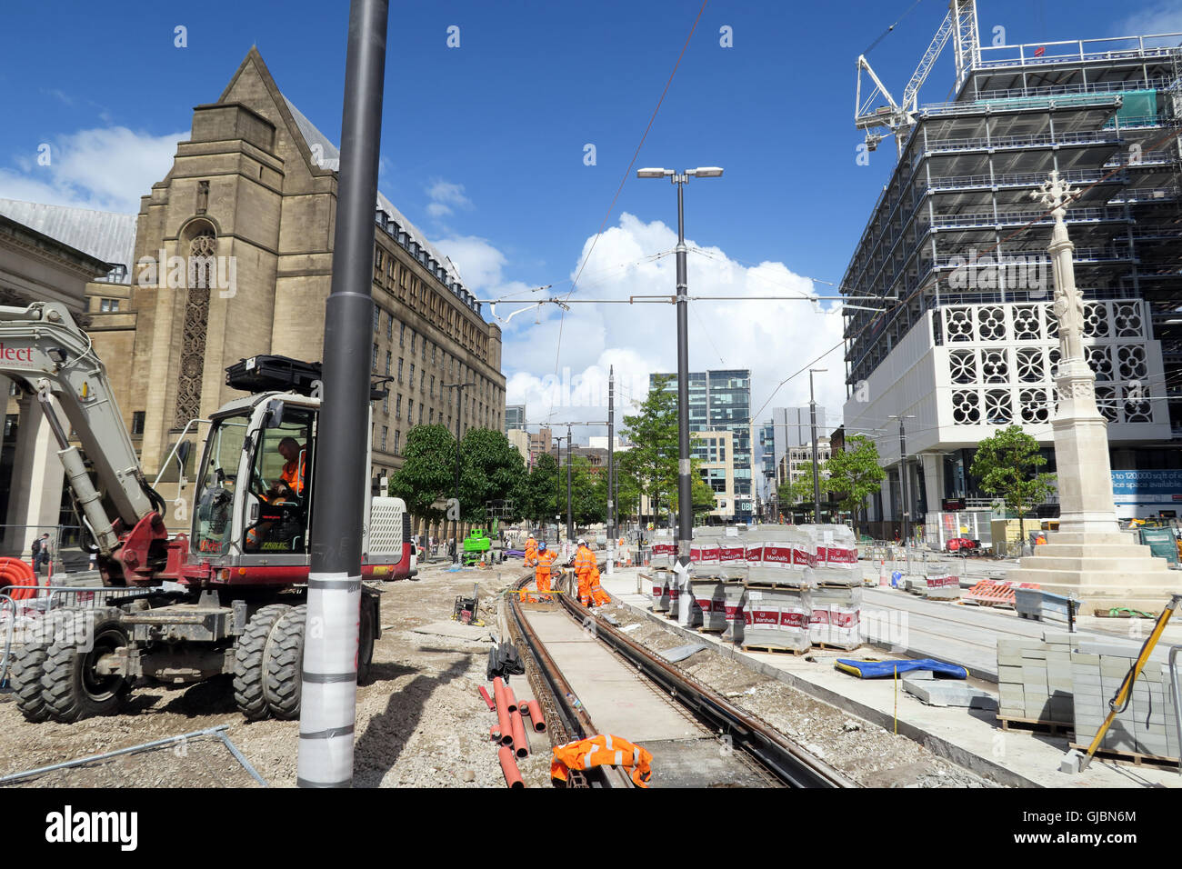 Building of the Phase 2CC – Second City Crossing for Manchester Metrolink, St Peters Square, North West England, Stock Photo