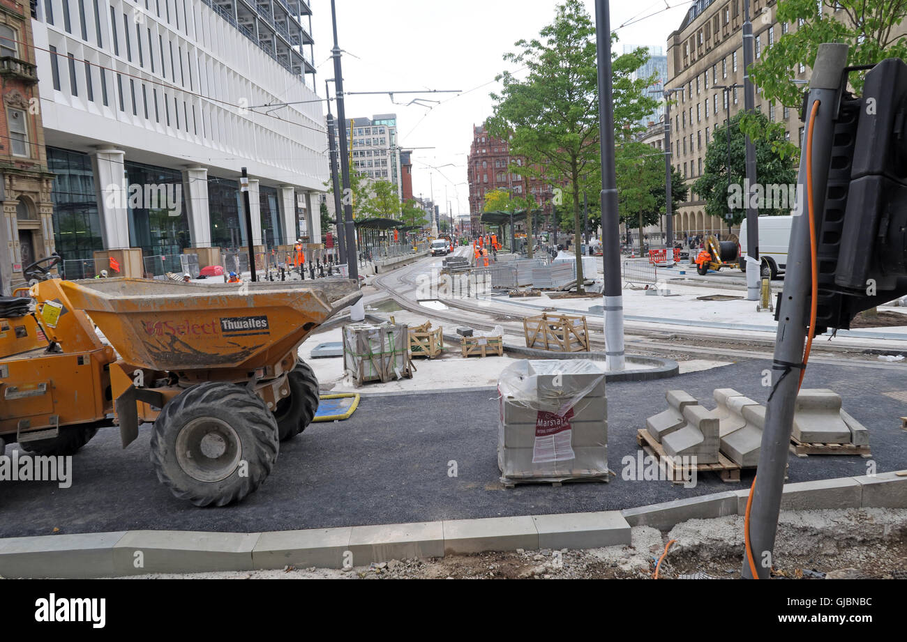 Building of the Phase 2CC – Second City Crossing for Manchester Metrolink, St Peters Square, North West England, - Stock Image