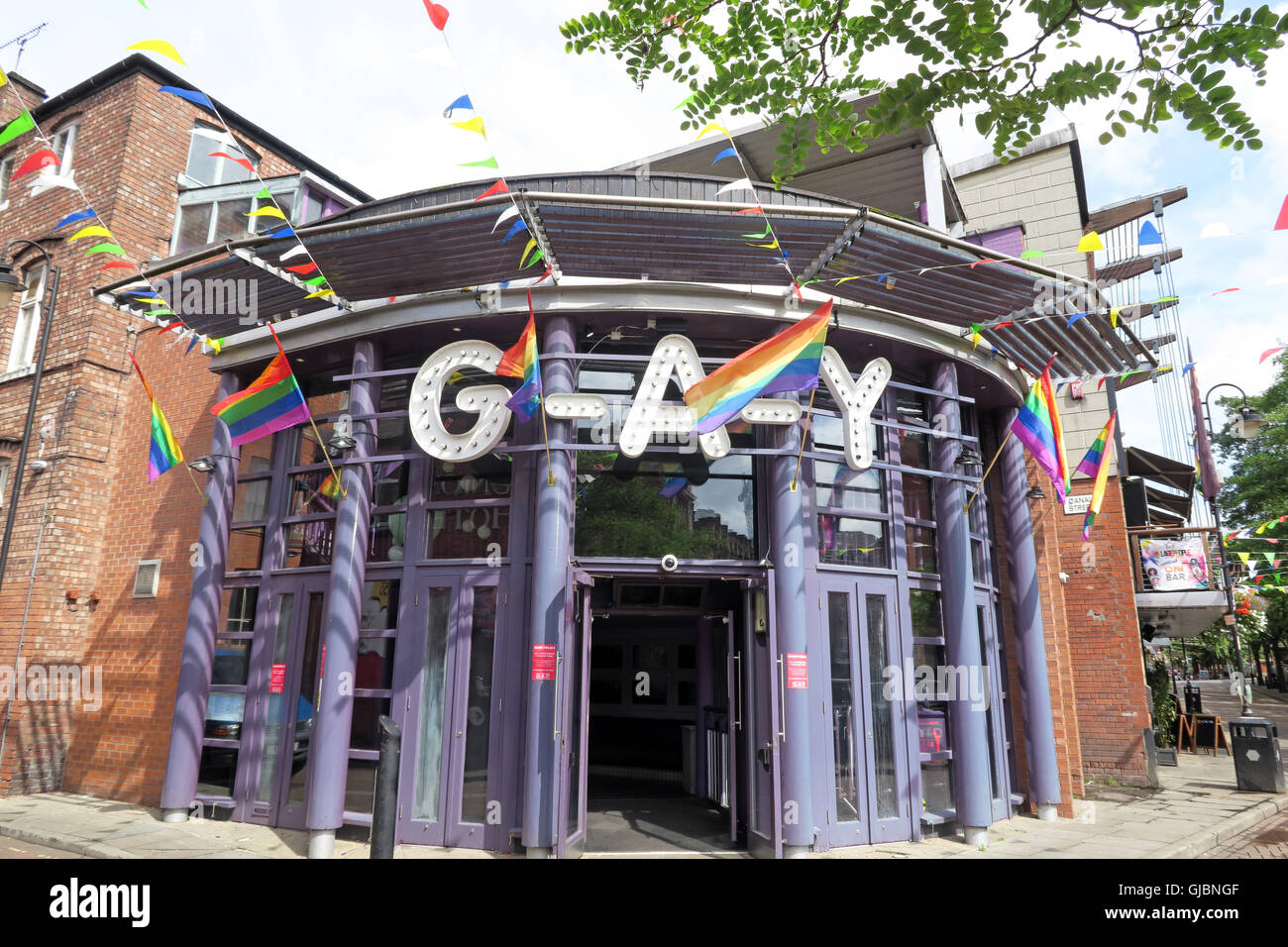 Manchester Gay Village, Canal street, Manchester, North West England, UK, M1 3HE - Stock Image