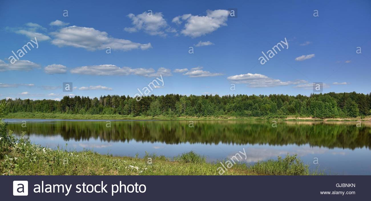 Landscape on the banks of the river Vyatka. The beauty of Russian nature. - Stock Image