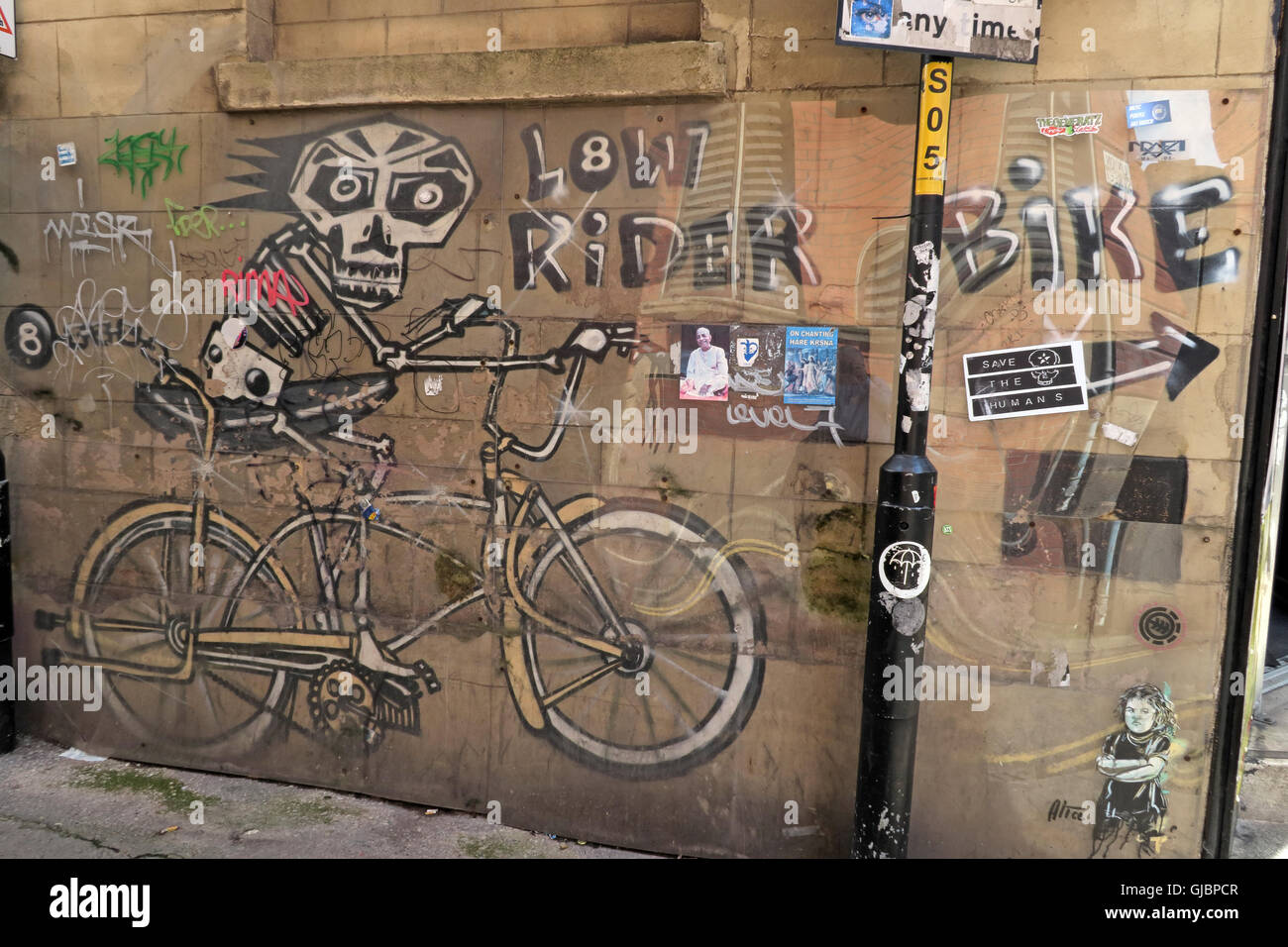 NQ Street art & stencils, Northern Quarter, Manchester, North West England, UK - Stock Image