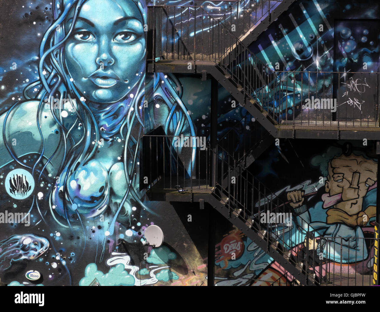 Northern Quarter Graffiti,Church St,Manchester,Lancashire,England,UK - Stock Image