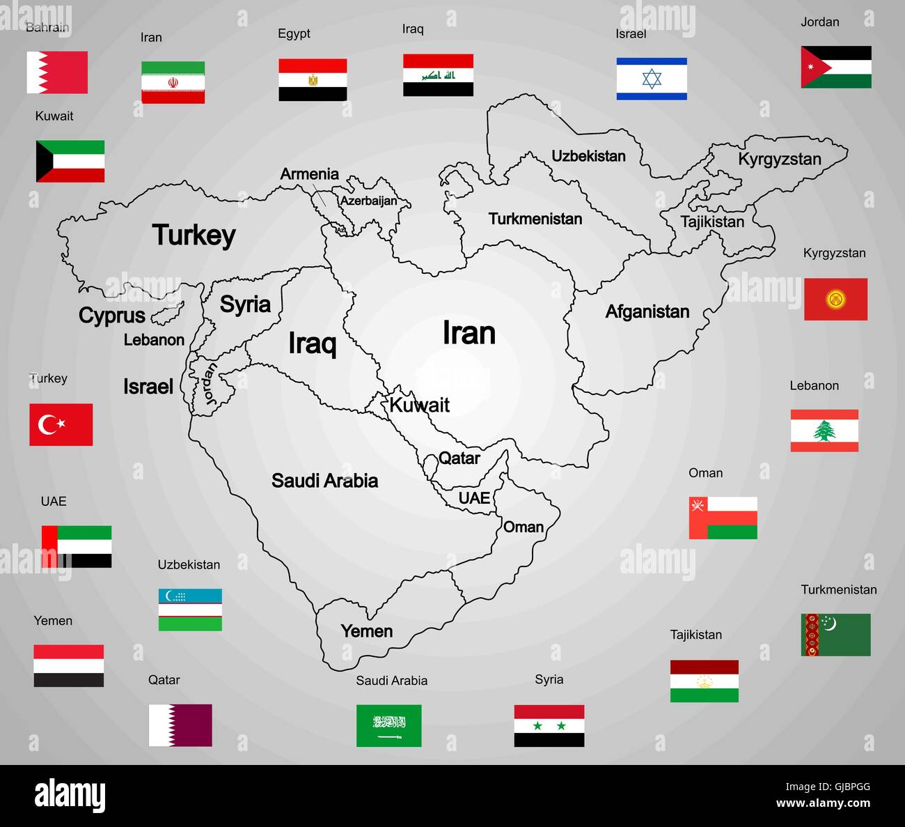 Middle East Map With Countries.Middle East Vector Map Set Of States And Flags Countries Collection