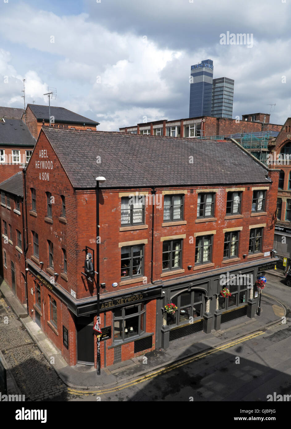 The Abel Heywood, 38 Turner St, Northern Quarter, Manchester, UK, M4 1DZ, CIS building in background - Stock Image