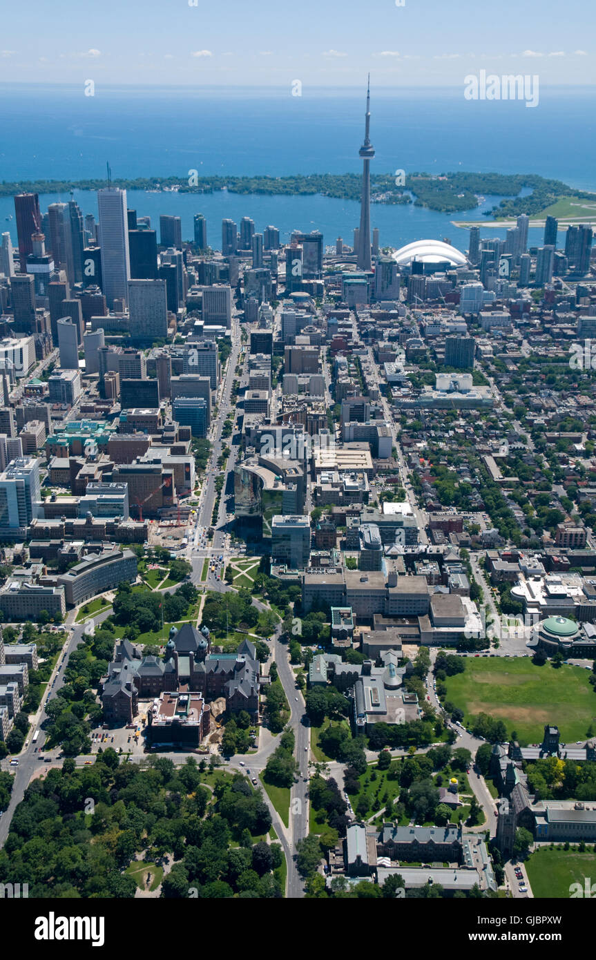 Downtown Toronto, Canada, seen from just above Bloor Street West and Queens Park, looking south towards the Toronto - Stock Image