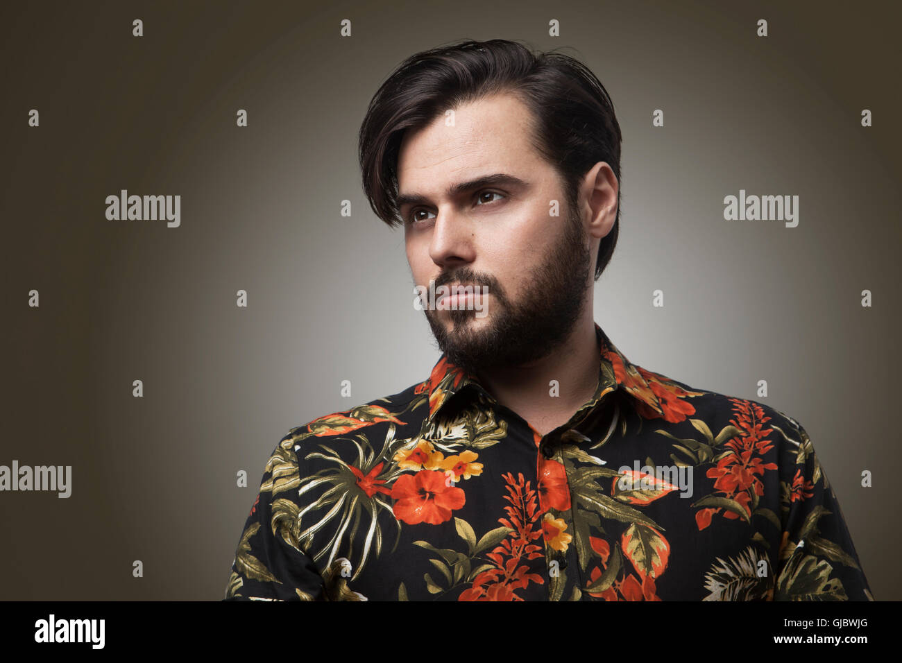 Portrait Handsome Bearded Man Wearing Stylish Color Shirt.Beauty Lifestyle People Concept Photo.Adult Serious Hipster - Stock Image