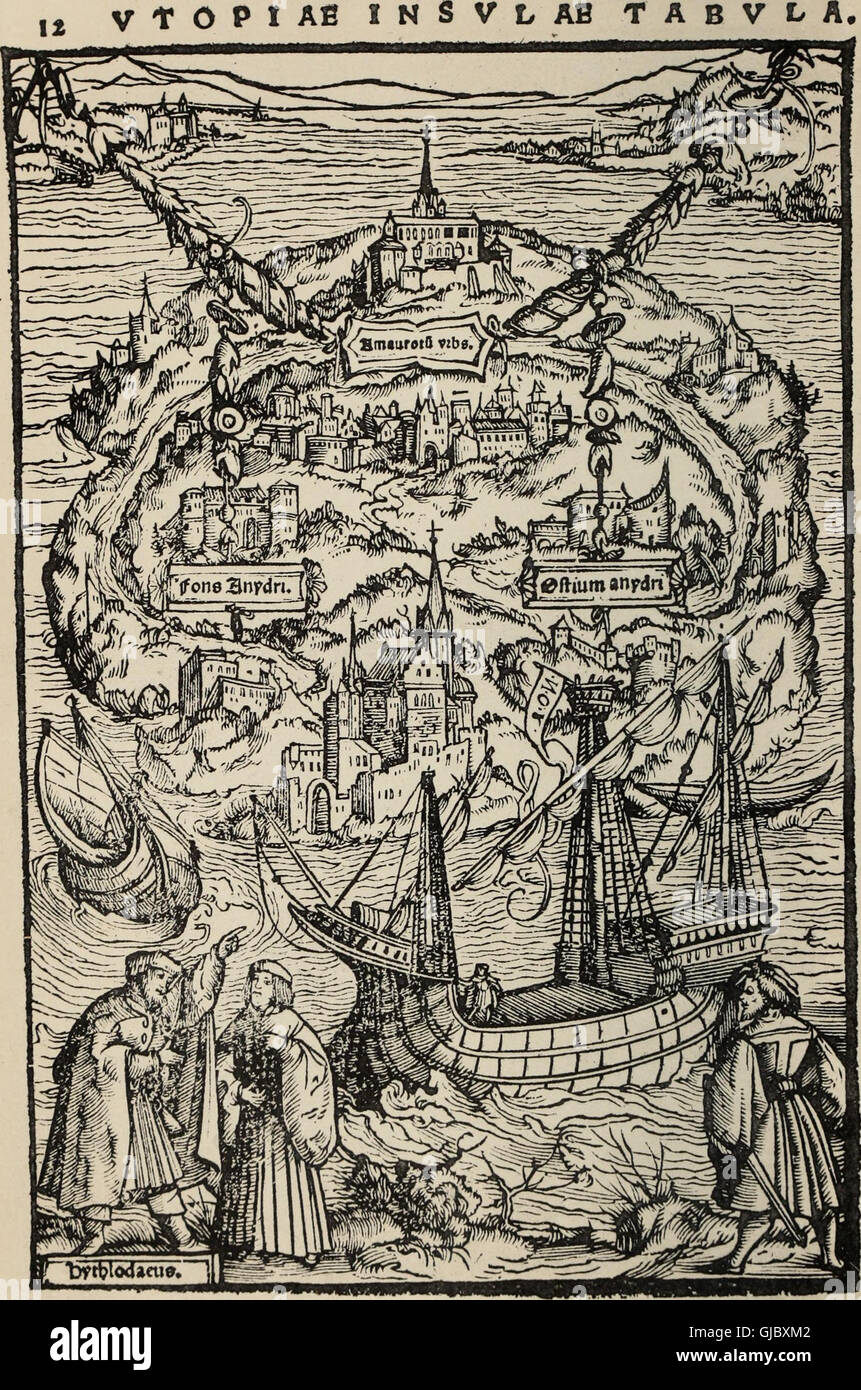 The Utopia of Sir Thomas More - in Latin from the edition of March 1518, and in English from the 1st ed. of Ralph - Stock Image