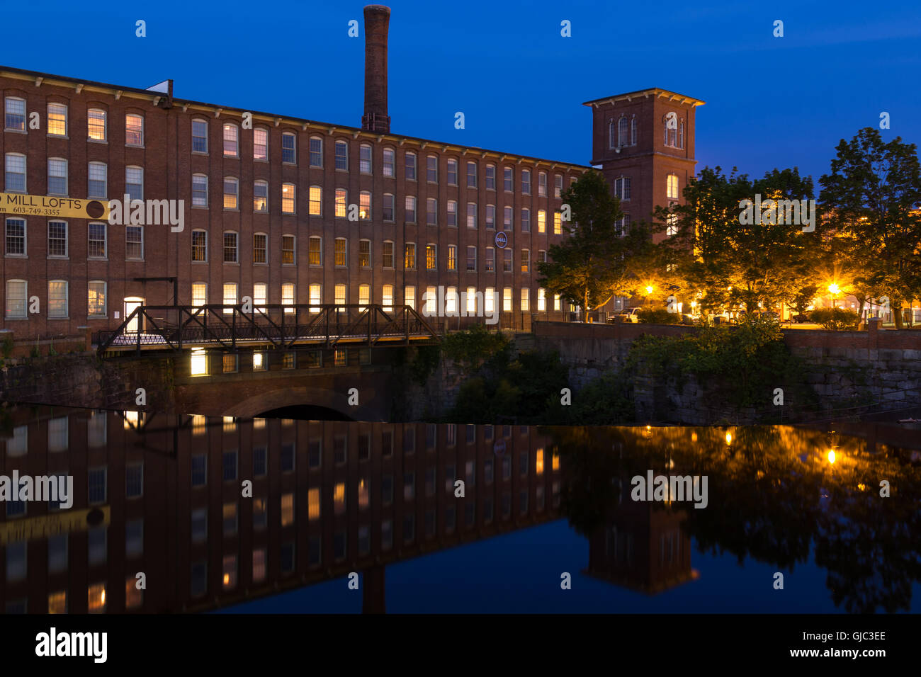 Cocheco Mills at Blue Hour, Dover, New Hampshire - Stock Image