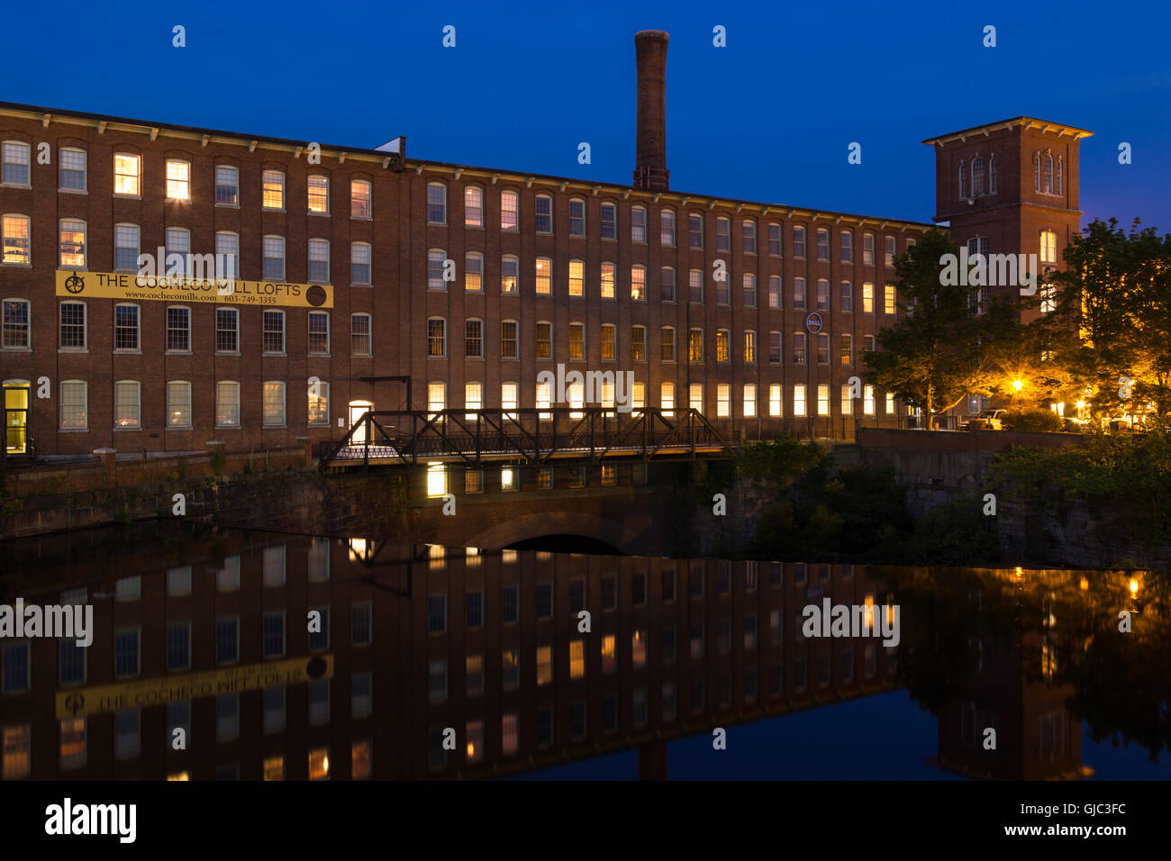 Cocheco Mills at Twilight, Dover, New Hampshire - Stock Image