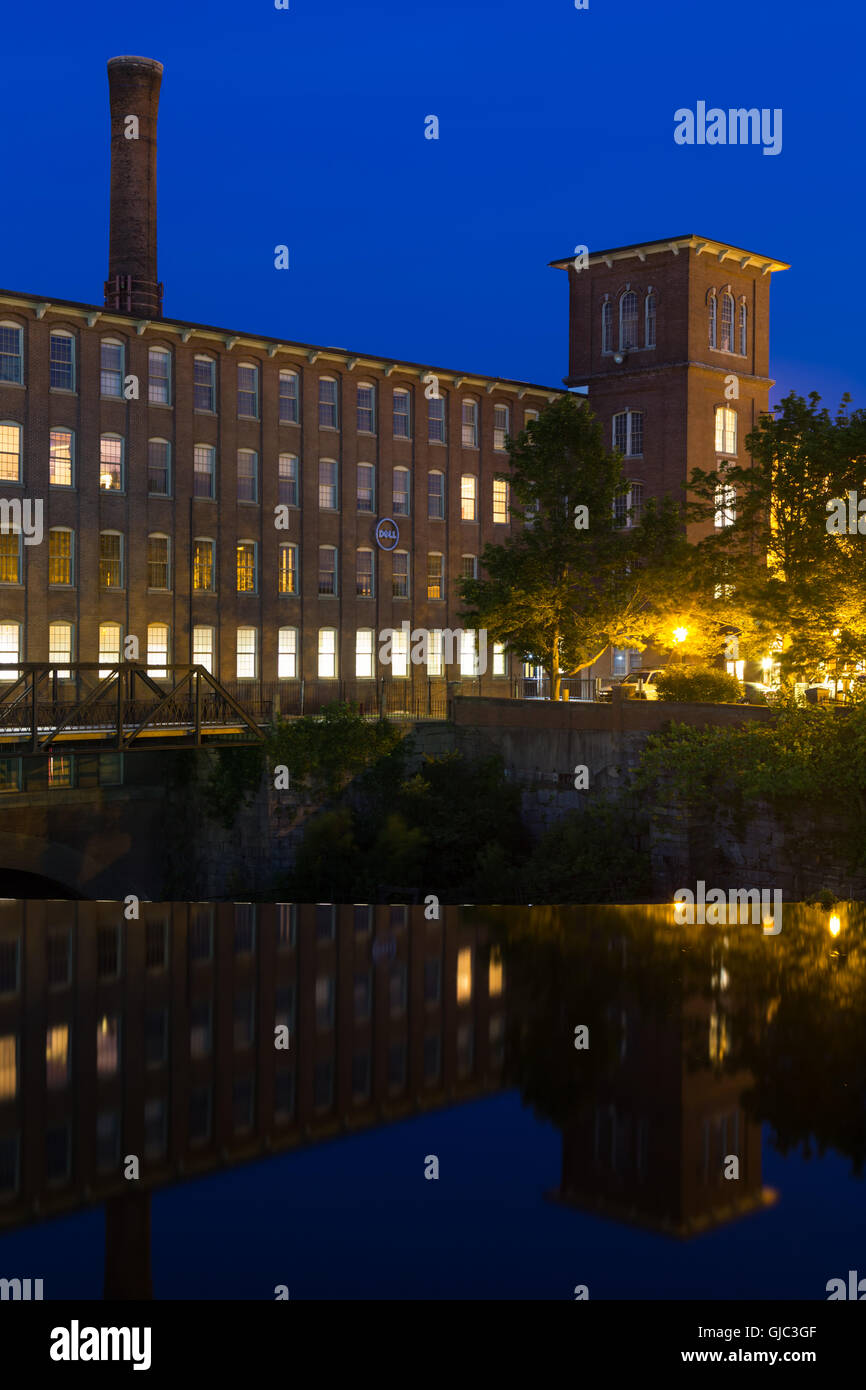 Blue Hour over the Cocheco Mills, Dover, New Hampshire - Stock Image
