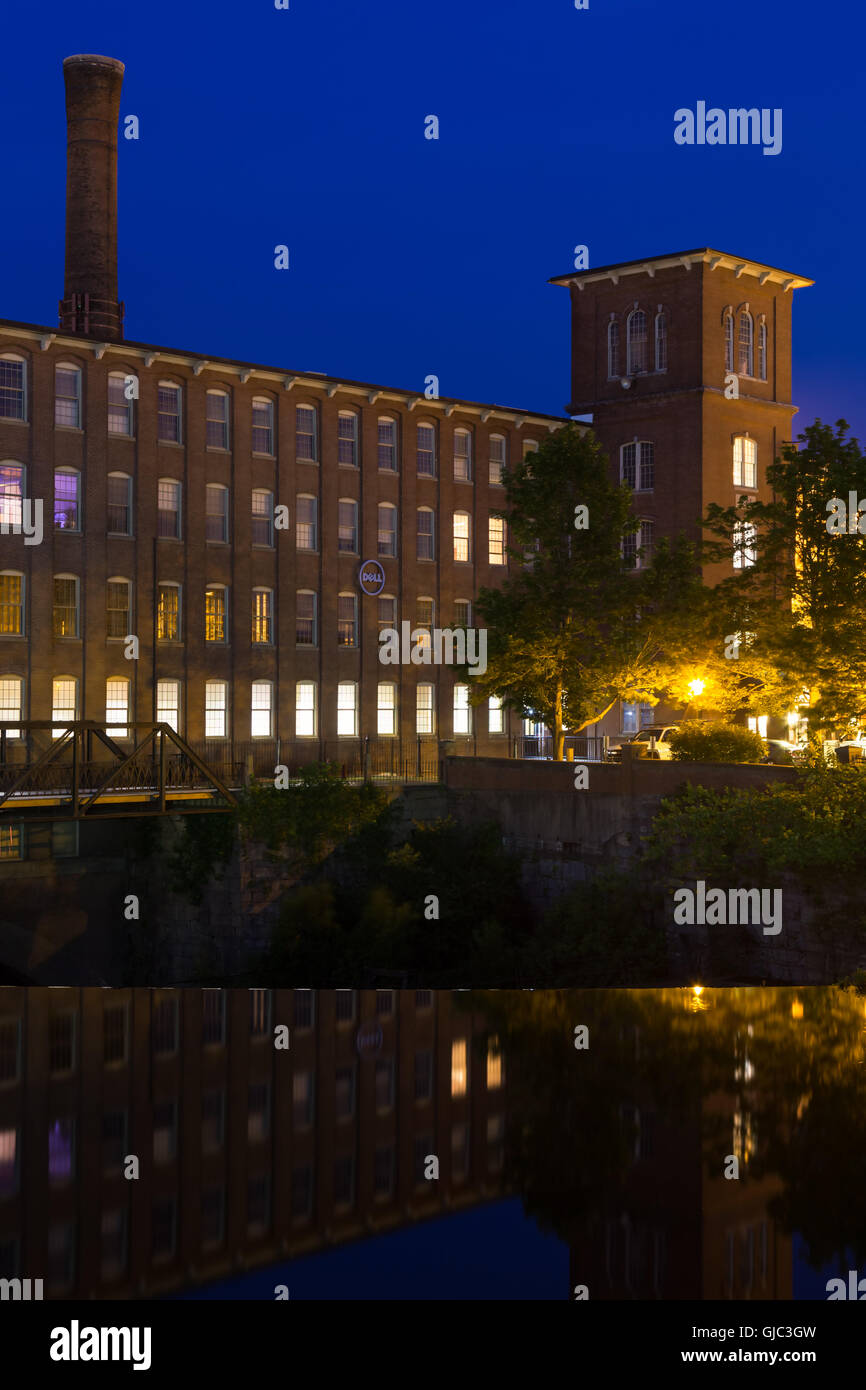 Twilight over the Cocheco Mills, Dover, New Hampshire - Stock Image