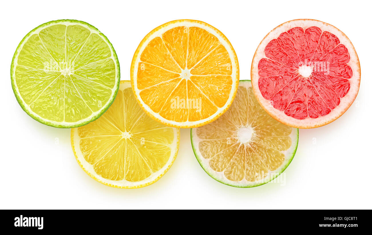 Slices of citrus fruits in shape of Olympic games logo isolated on white background with clipping path - Stock Image