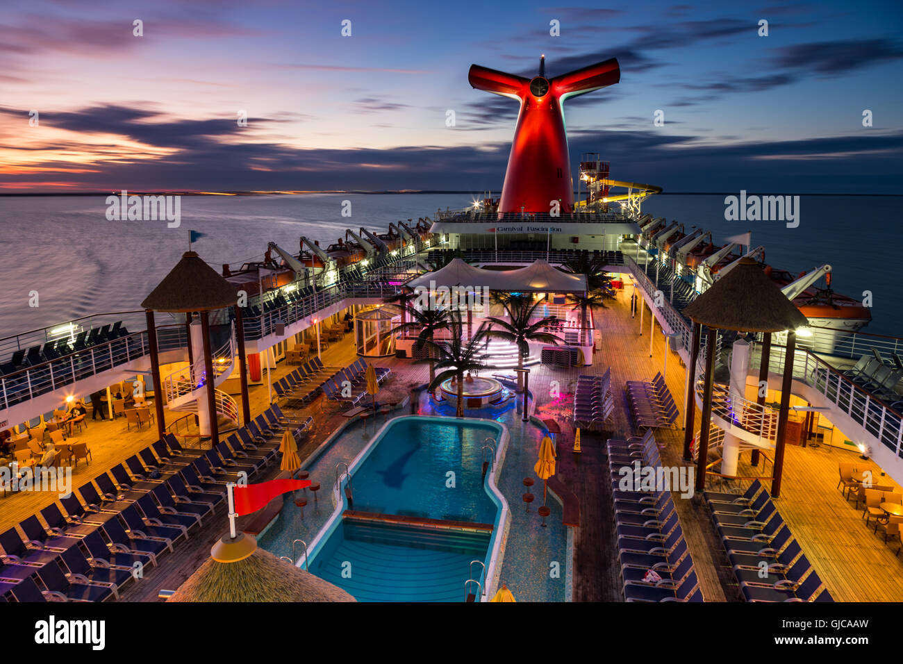 Carnival Fascination at Sunset - Stock Image
