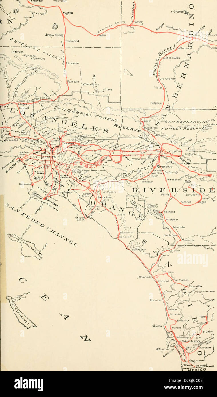 Los Angeles Pasadena Santa Ana Baedeker 1909 Old Map Southern