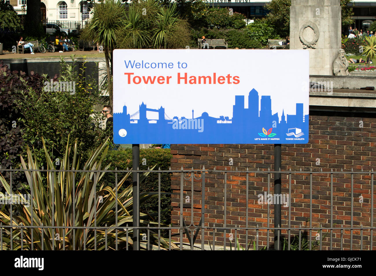 Welcome to The London Borough of Tower Hamlets sign - Stock Image