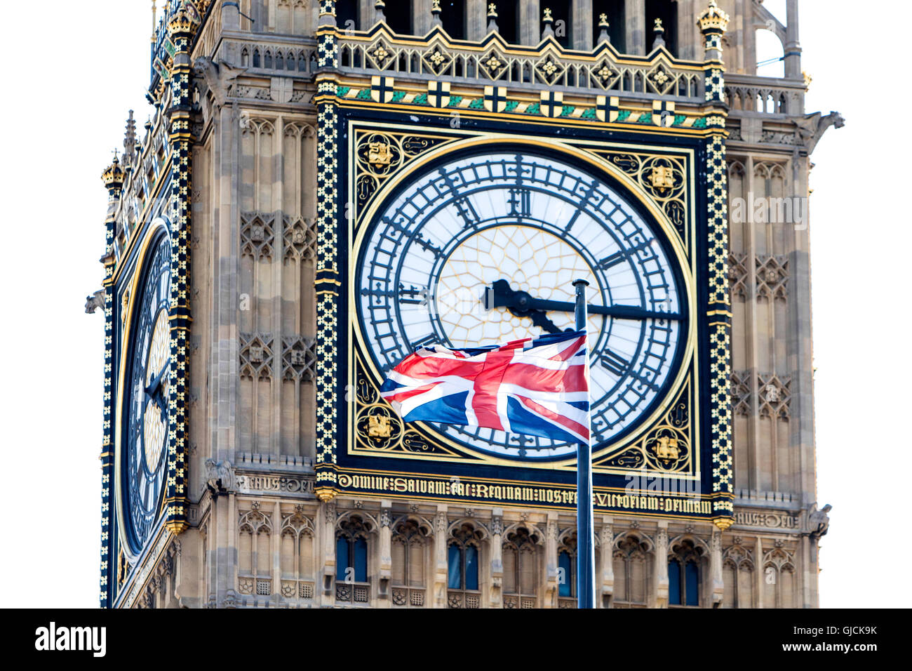 Close up of Big Ben Elizabeth Tower and the  Houses of Parliament Clock Tower of The Palace of Westminster, London, - Stock Image