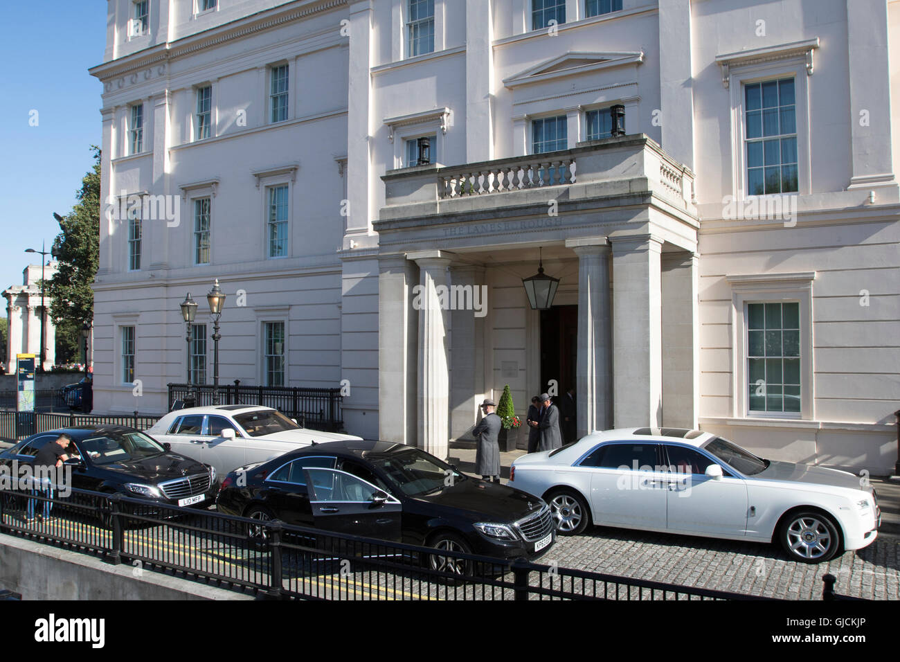 The Lanesborough 5 star hotel in the Royal Borough of Kensington and Chelsea and the City of Westminster Greater - Stock Image