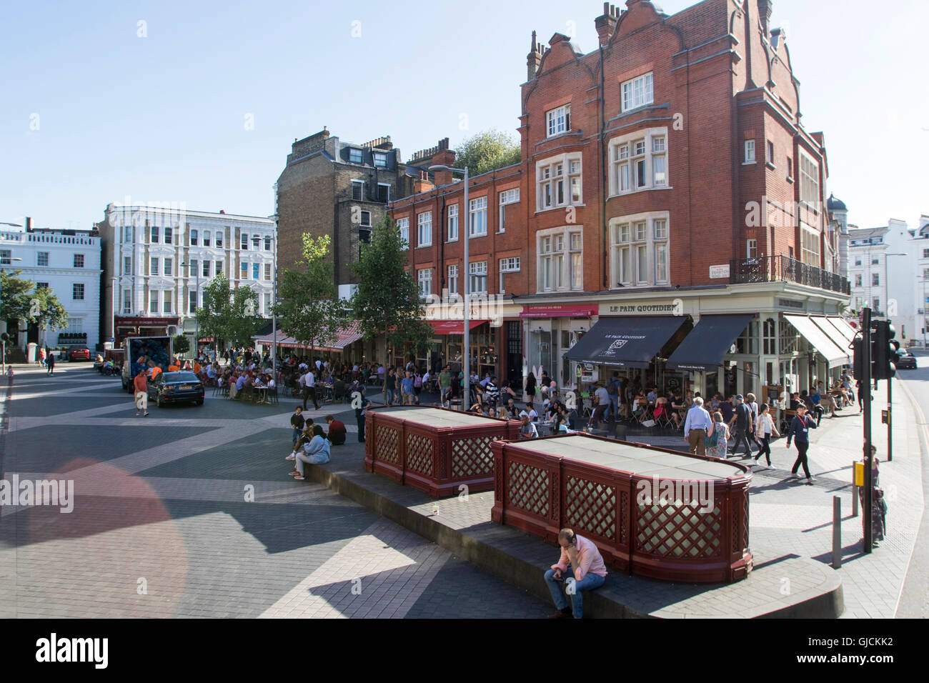 Exhibition Road in the Royal Borough of Kensington and Chelsea and the City of Westminster Greater Central London - Stock Image