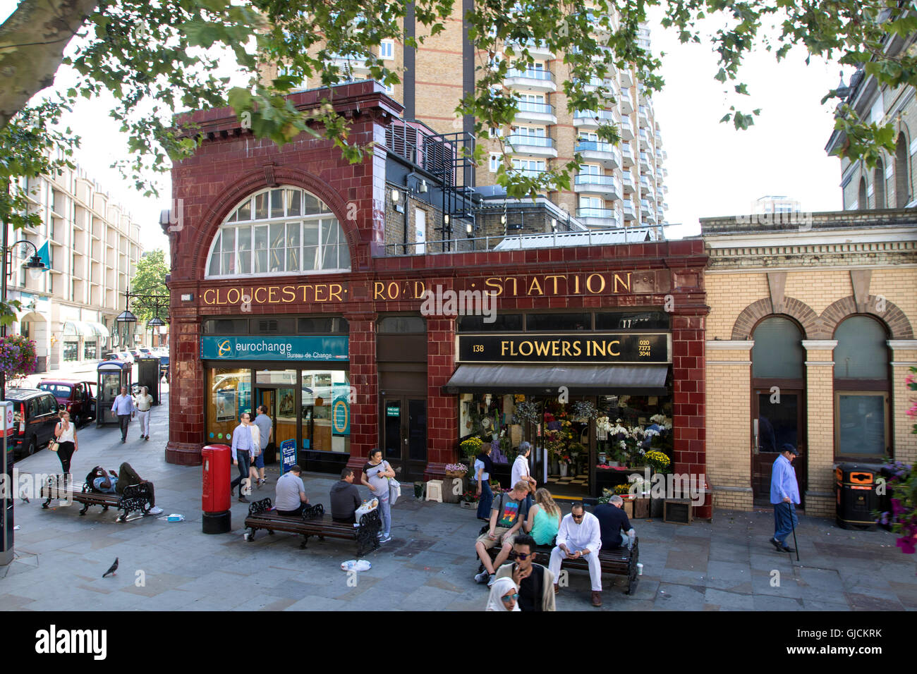 Gloucester Road tube station in the Royal Borough of Kensington and Chelsea and the City of Westminster Greater Stock Photo