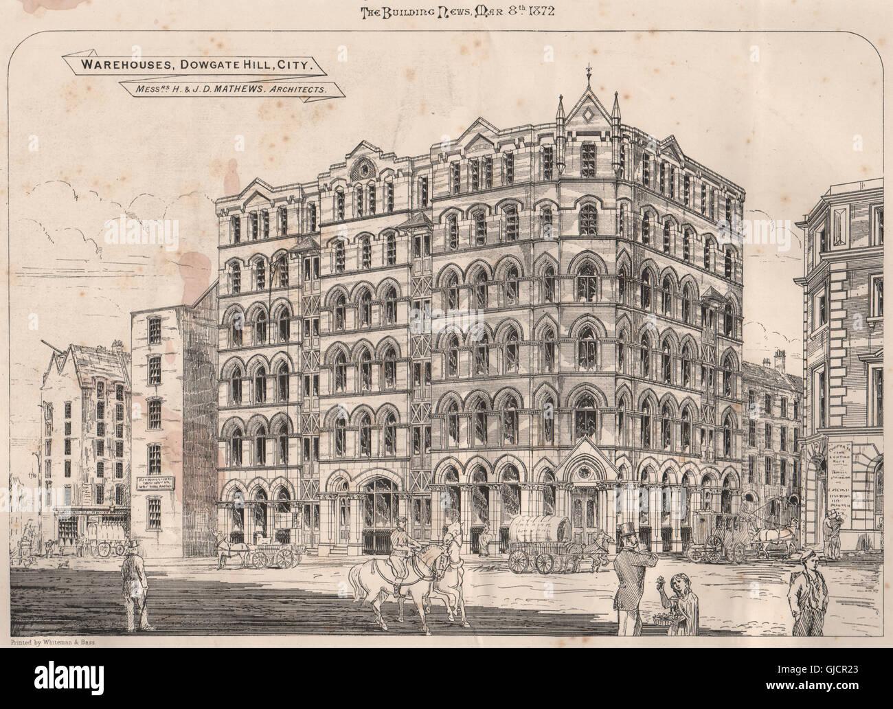 Warehouses, Dowgate Hill, City. Messrs. H. & J. D. Mathews, Architects, 1872 - Stock Image