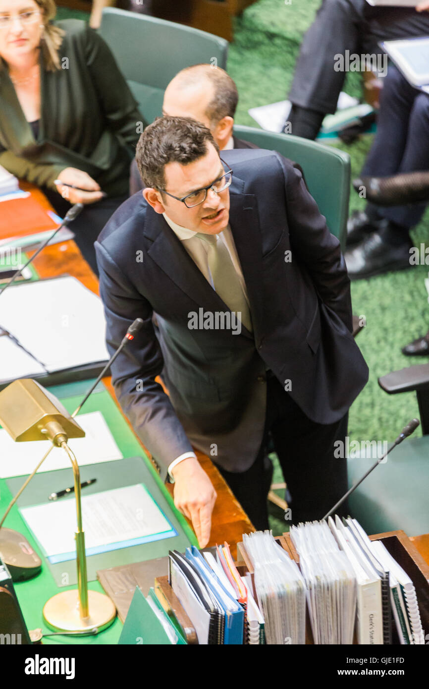 Melbourne, Australia. 16th August, 2016. Premier Daniel Andrews defends his Governments actions against the CFA - Stock Image